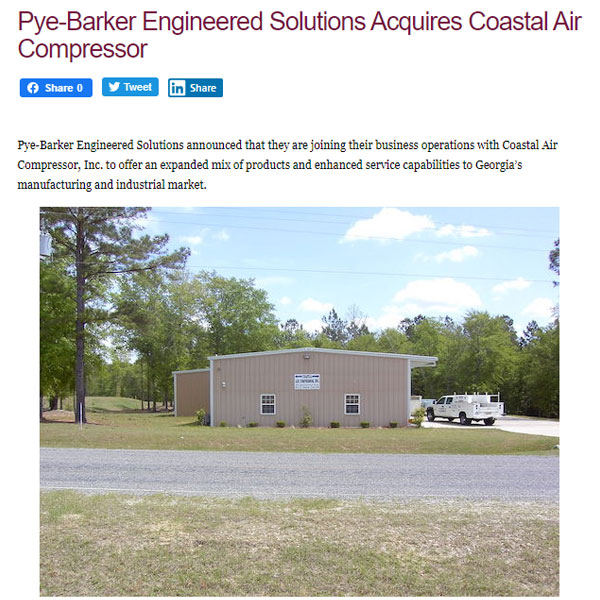 Pye-Barker-Engineered-Solutions-Acquires-Coastal-Air-Compressor